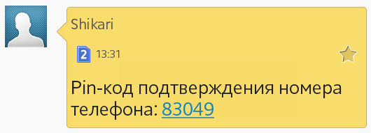 СМС с пин-кодом